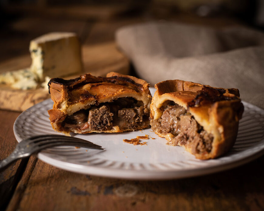 handmade steak and blue cheese pie